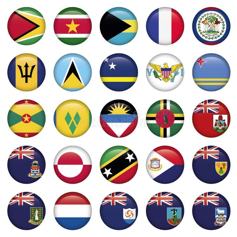 Botones redondos suaves de las banderas americanas stock de ilustración