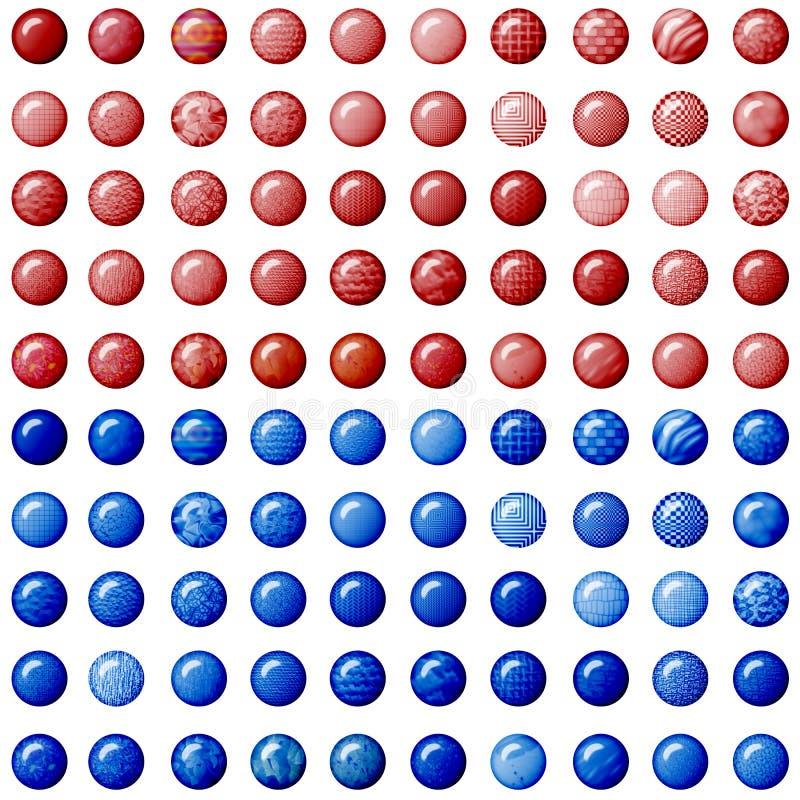 Botones rojos y azules foto de archivo libre de regalías
