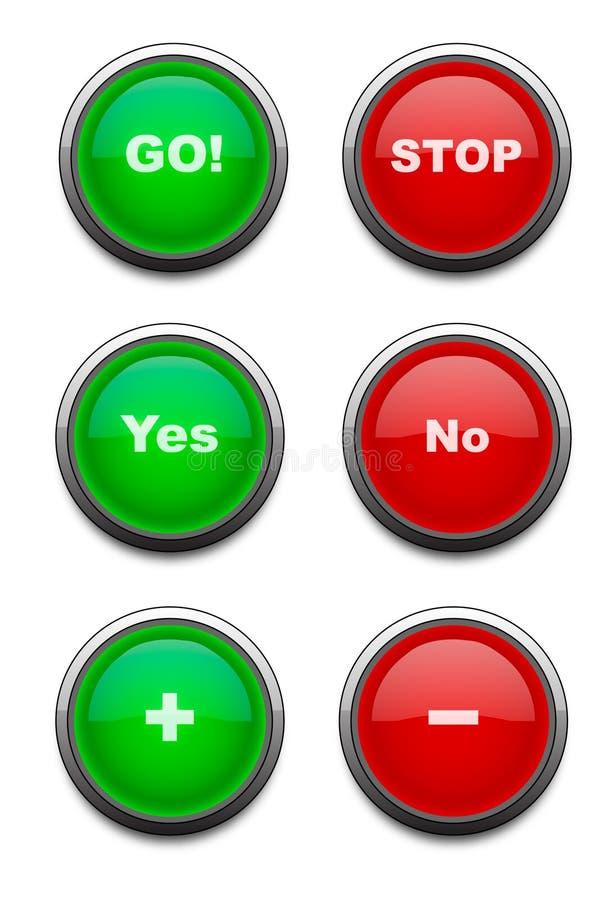 Botones rojos y verdes (vector) fotografía de archivo libre de regalías