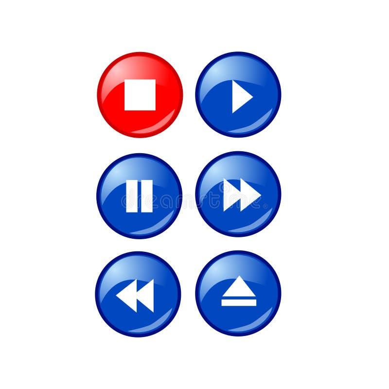 Botones simples en negrilla del jugador de música libre illustration