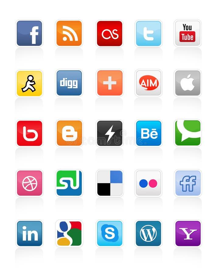 Botones sociales 1 de los media ilustración del vector
