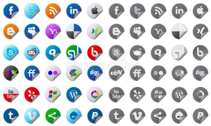 Botones sociales de los media fijados ilustración del vector