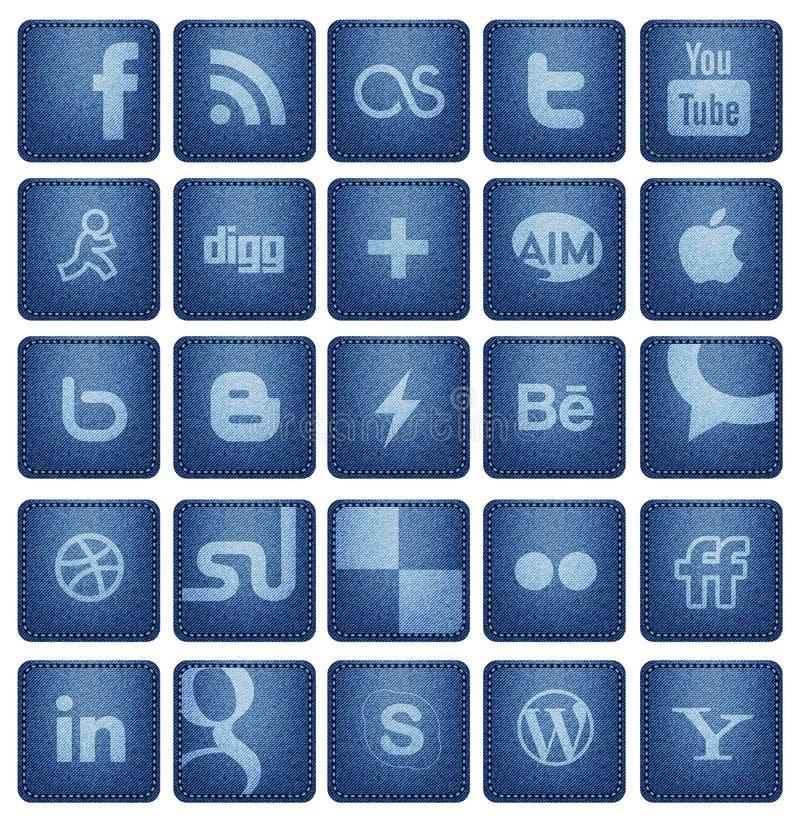 Botones sociales 1 de los medios ilustración del vector