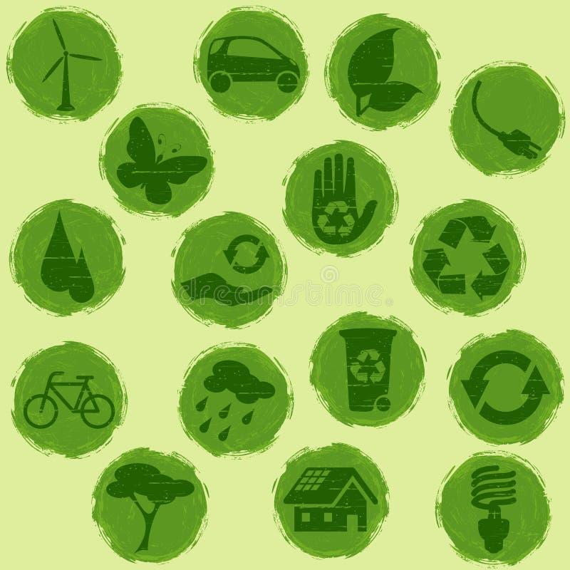 botones Todo-verdes del eco del grunge libre illustration