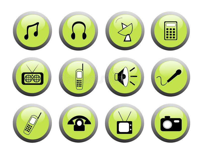 Medios botones verdes del icono fotografía de archivo libre de regalías