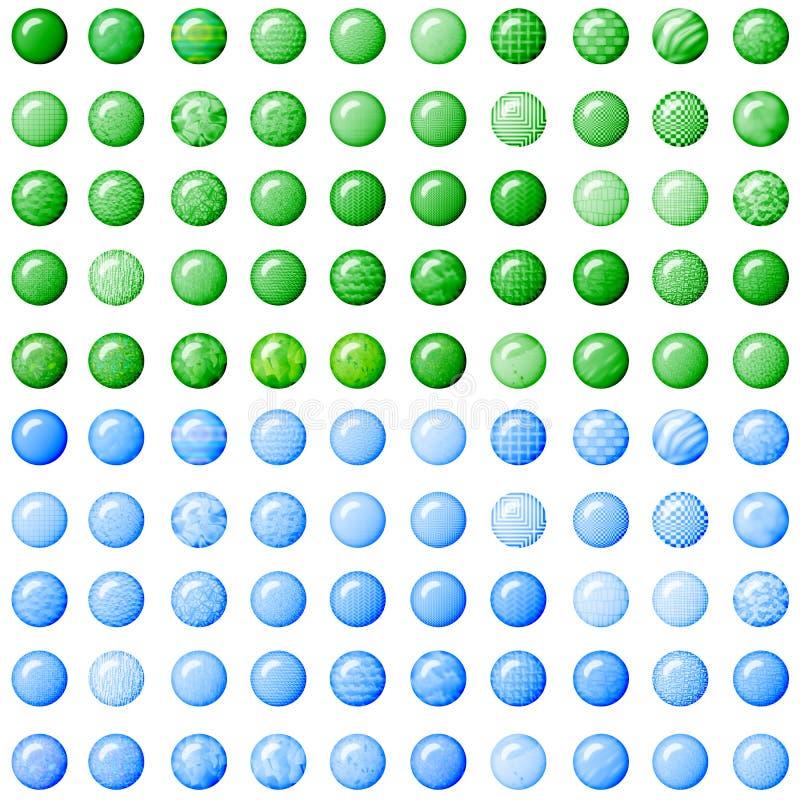 Botones verdes y azules claros imagen de archivo libre de regalías