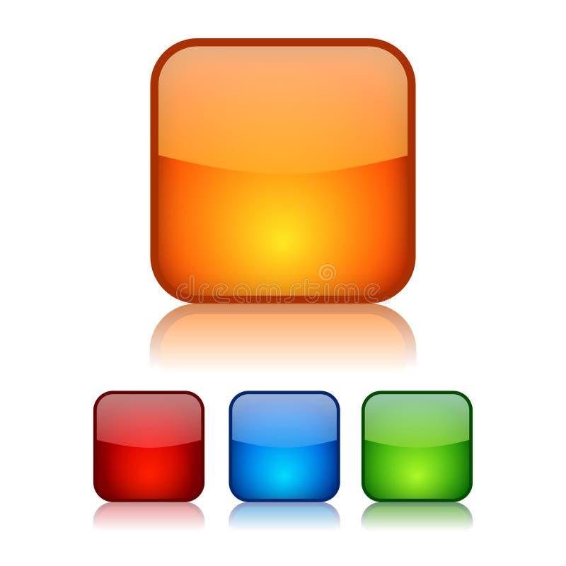 Botones vidriosos cuadrados ilustración del vector