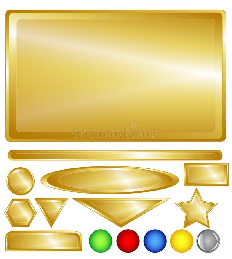 Botones Y Barras Del Web Del Oro Fotografía de archivo libre de regalías