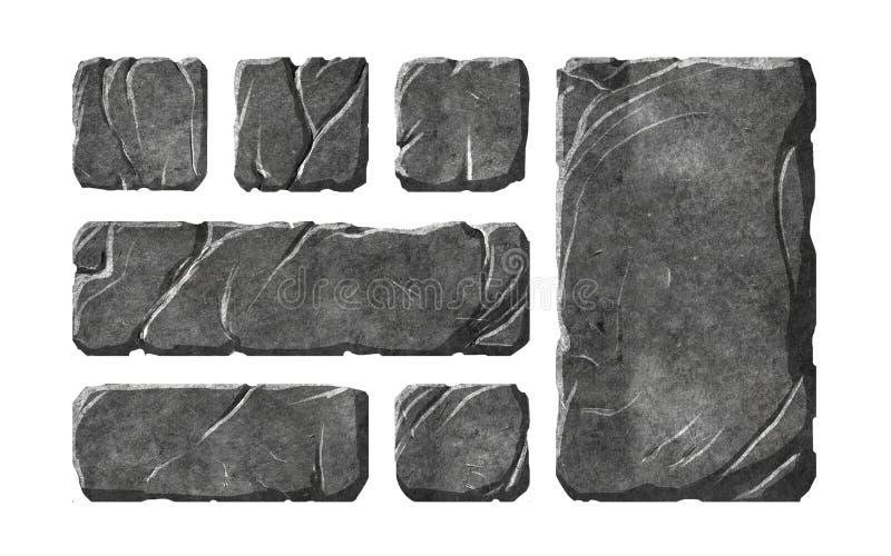 Botones y elementos de piedra realistas libre illustration