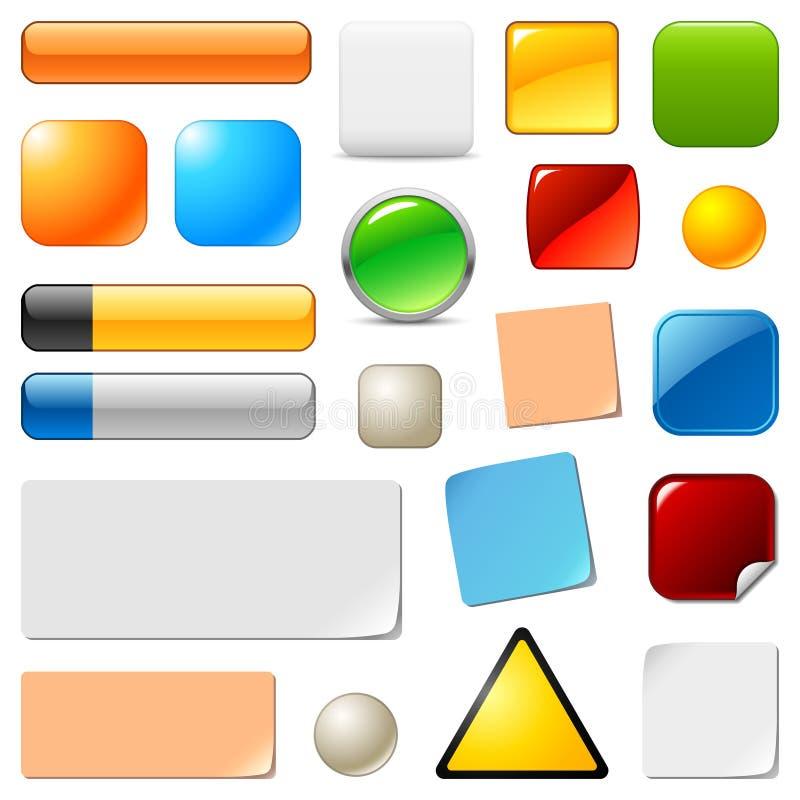Botones y etiquetas engomadas en blanco del Web libre illustration
