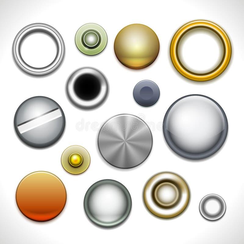 Botones y remaches del metal stock de ilustración