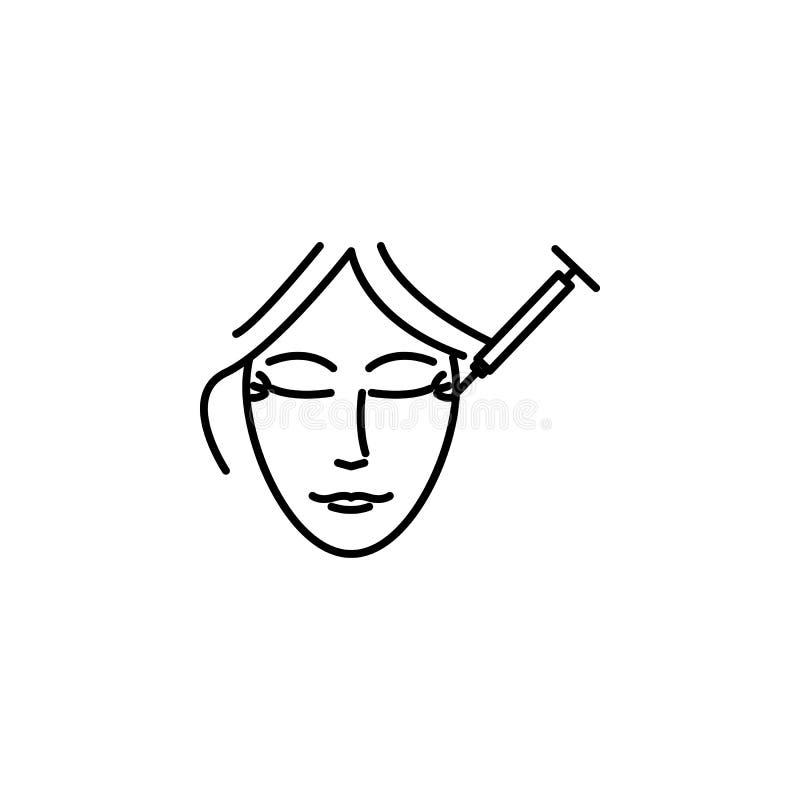 botox σύριγγα στο εικονίδιο ρυτίδων Στοιχείο της ομορφιάς και του αντι εικονιδίου γήρανσης για την κινητούς έννοια και τον Ιστό a απεικόνιση αποθεμάτων