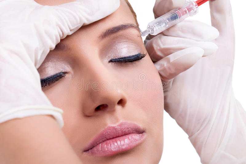Botox Injection. Cosmetic injection of botox, close-up stock photography