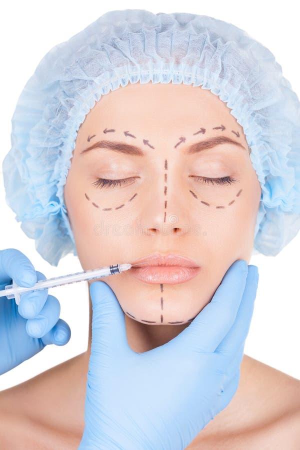Botox injektion i kanter. arkivfoton