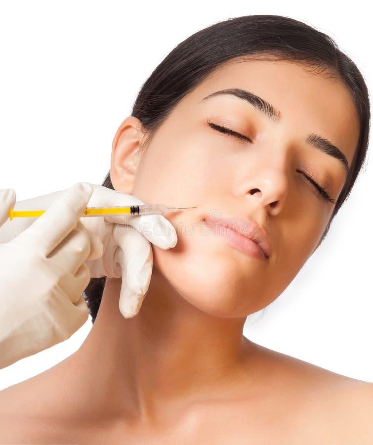 Botox Strzelał w dziewczyna policzku obrazy royalty free