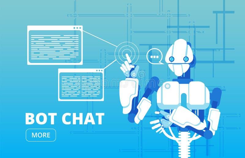 Botpratstund Begrepp för vektor för affär för hjälp för robotsupporterchatbot faktiskt royaltyfri illustrationer