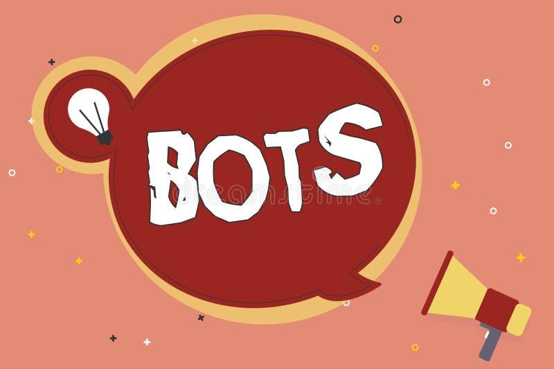 Bots del testo di scrittura di parola Concetto di affari per il programma Automated che investe l'intelligenza artificiale di Int royalty illustrazione gratis