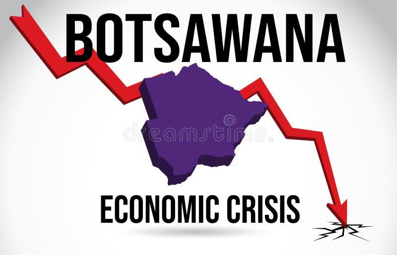 Botsawana Map Financial Crisis Economic Collapse Market Crash Global Meltdown Vector. Illustration vector illustration
