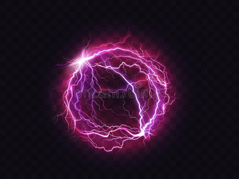 Botsing van een elektrische ballingcirkel met blikseminslag stock illustratie