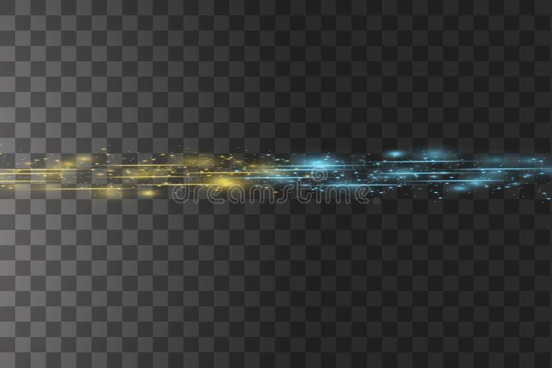 Botsing van twee krachten met gouden en blauw licht op transparante achtergrond Vector illustratie Het hete en koude fonkelen stock illustratie