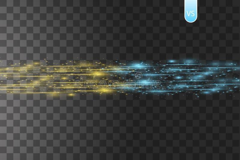 Botsing van twee krachten met gouden en blauw licht op transparante achtergrond Vector illustratie Het hete en koude fonkelen royalty-vrije illustratie