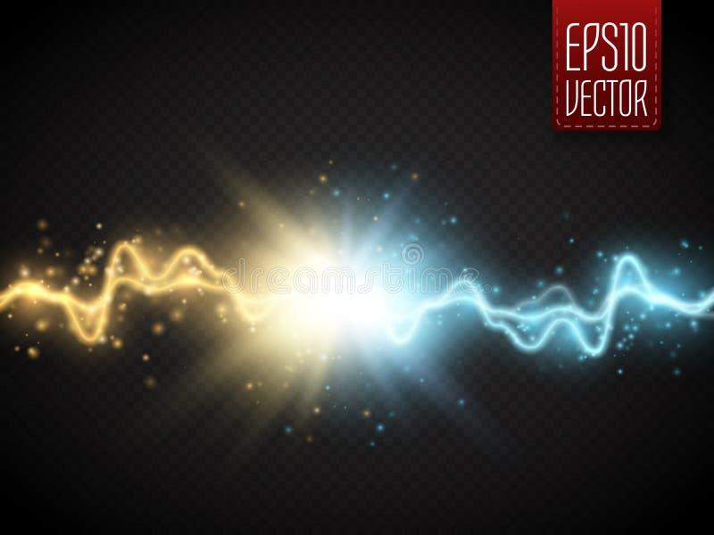 Botsing van twee krachten met gouden en blauw licht Vector stock illustratie
