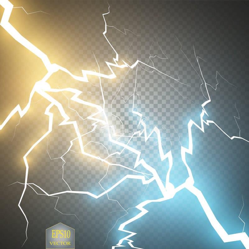 Botsing van twee krachten met gouden en blauw licht Vector illustratie Hete en koude het fonkelen macht Energiebliksem vector illustratie