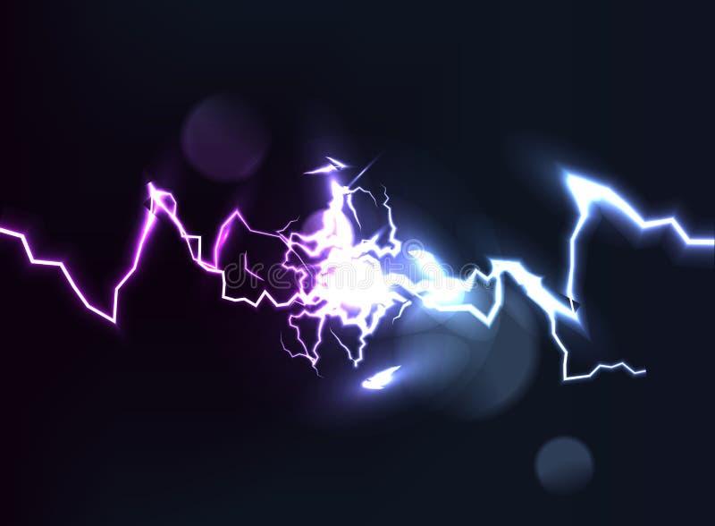 Botsing van twee krachten met licht Hete en koude het fonkelen macht Lichteffect met vonken royalty-vrije illustratie