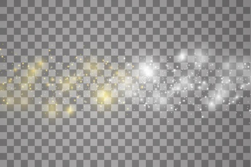 Botsing van twee krachten met wit en blauw licht op transparante achtergrond Vector illustratie Het hete en koude fonkelen royalty-vrije illustratie