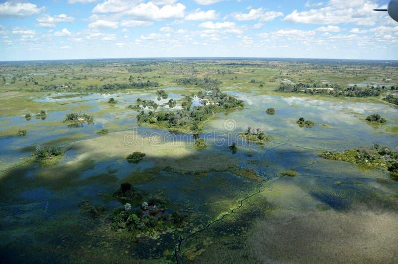 Botswana: Airshot do delta inundado de Okavango no Kalahari fotografia de stock