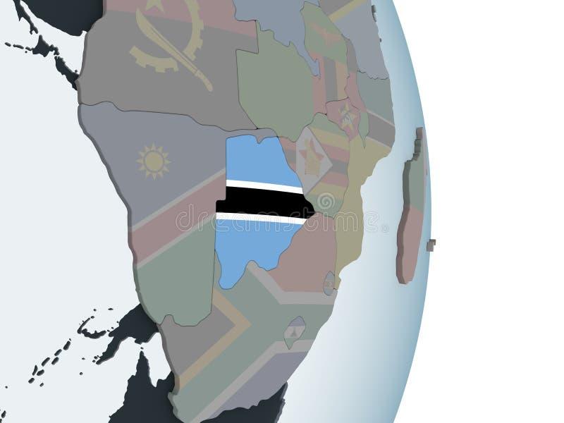 Botswana con la bandera en el globo ilustración del vector