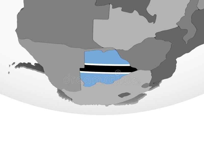 Botswana con la bandera en el globo stock de ilustración
