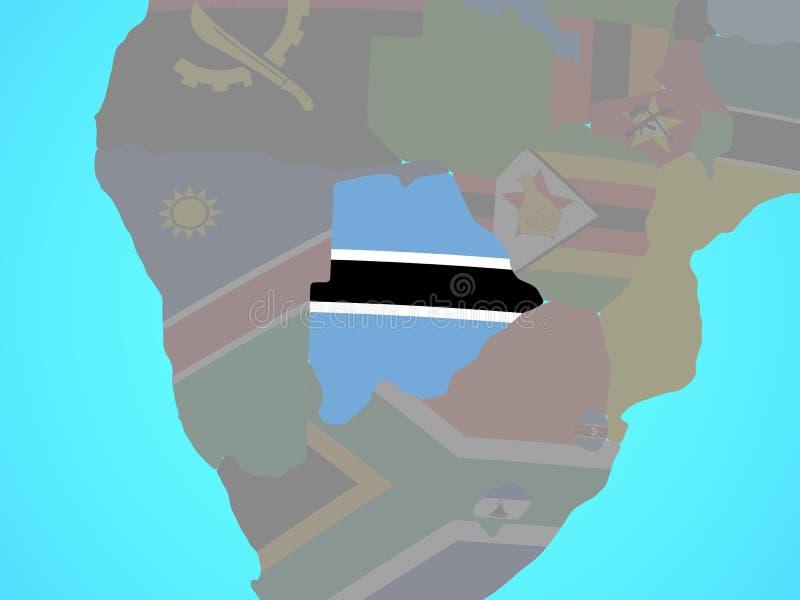 Botswana con la bandera en mapa stock de ilustración