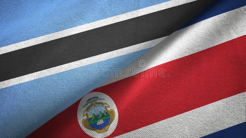 Botswana and Costa Rica two flags textile cloth, fabric texture. Botswana and Costa Rica flags together textile cloth, fabric texture royalty free illustration