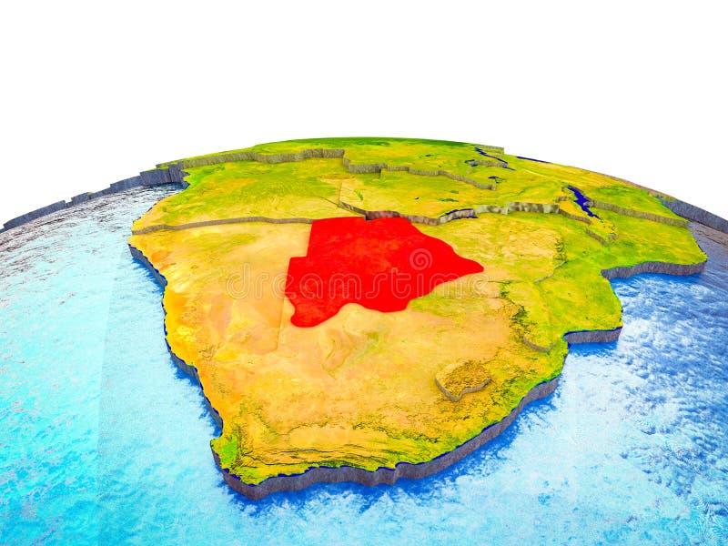 Botswana en la tierra 3D stock de ilustración