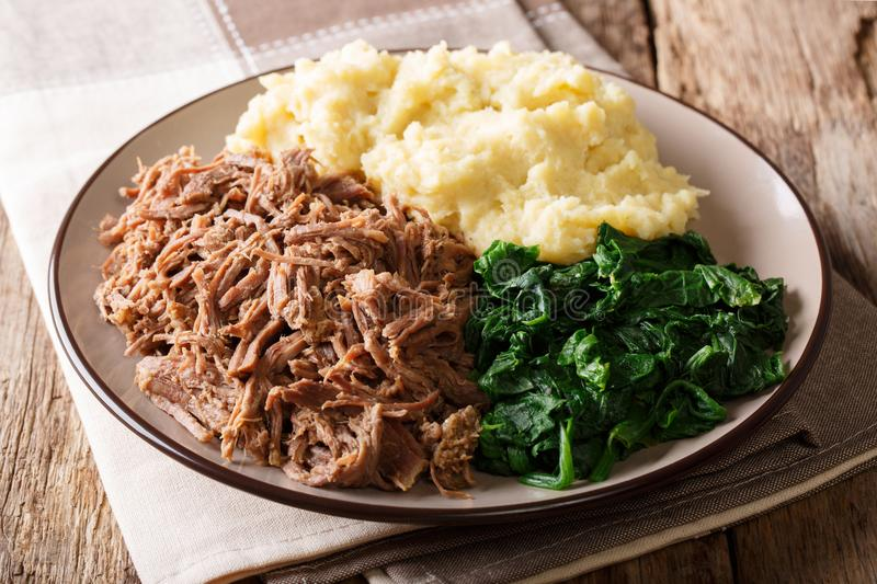 Botswana festive meal: seswaa stewed beef with pap porridge and. Spinach close-up on a plate on a table. horizontal royalty free stock image