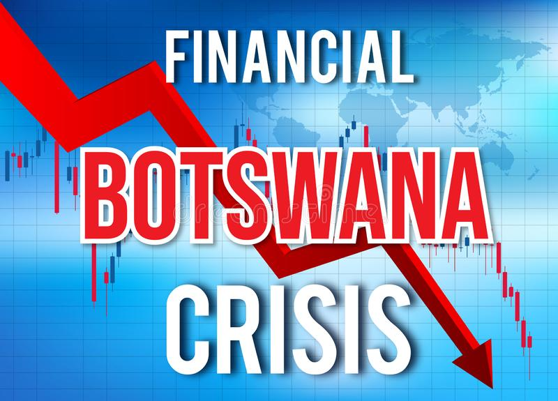 Botswana Financial Crisis Economic Collapse Market Crash Global Meltdown. Illustration royalty free illustration