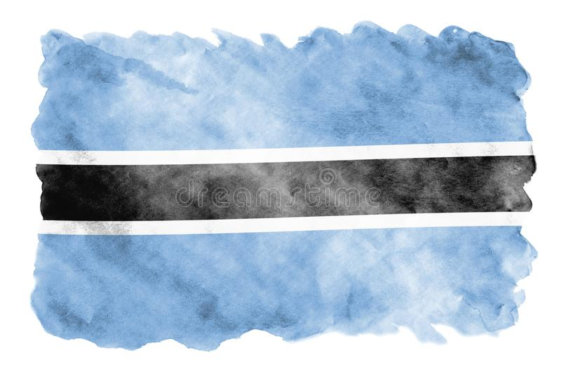 Botswana flag is depicted in liquid watercolor style isolated on white background. Careless paint shading with image of national flag. Independence Day banner vector illustration