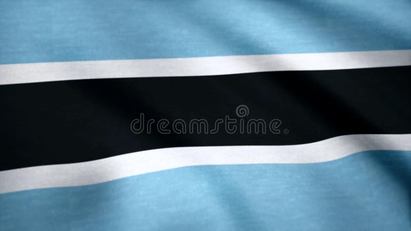 Botswana flag pattern on the fabric texture, vintage style. Background of a waving flag of Botswana royalty free stock photography