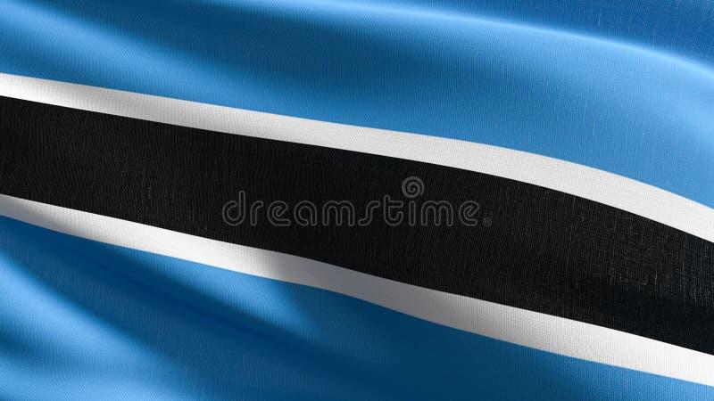 Botswana flagi państowowej dmuchanie w wiatrze odizolowywającym Oficjalny patriotyczny abstrakcjonistyczny projekt 3D renderingu  ilustracja wektor