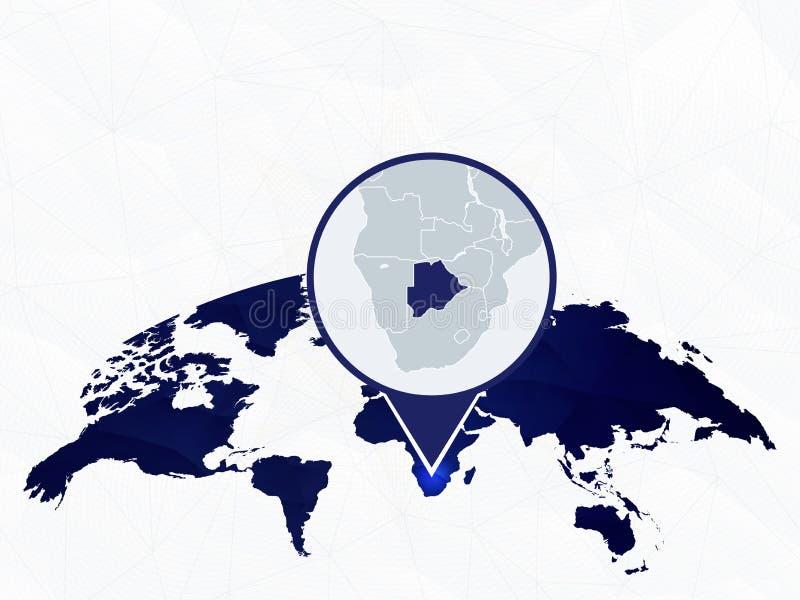 Botswana gedetailleerde kaart die op blauwe rond gemaakte Wereldkaart wordt benadrukt royalty-vrije illustratie