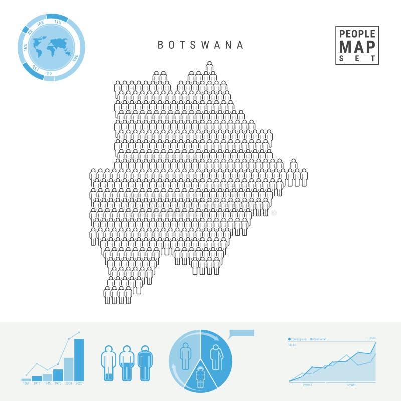 Botswana-Leute-Ikonen-Karte Stilisiertes Vektor-Schattenbild von Botswana Bevölkerungszuwachs und Altern Infographics stock abbildung