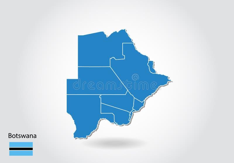 Botswana mapy projekt z 3D stylem Błękitna Botswana flaga państowowa i mapa Prosta wektorowa mapa z konturem, kształt, kontur, na ilustracji