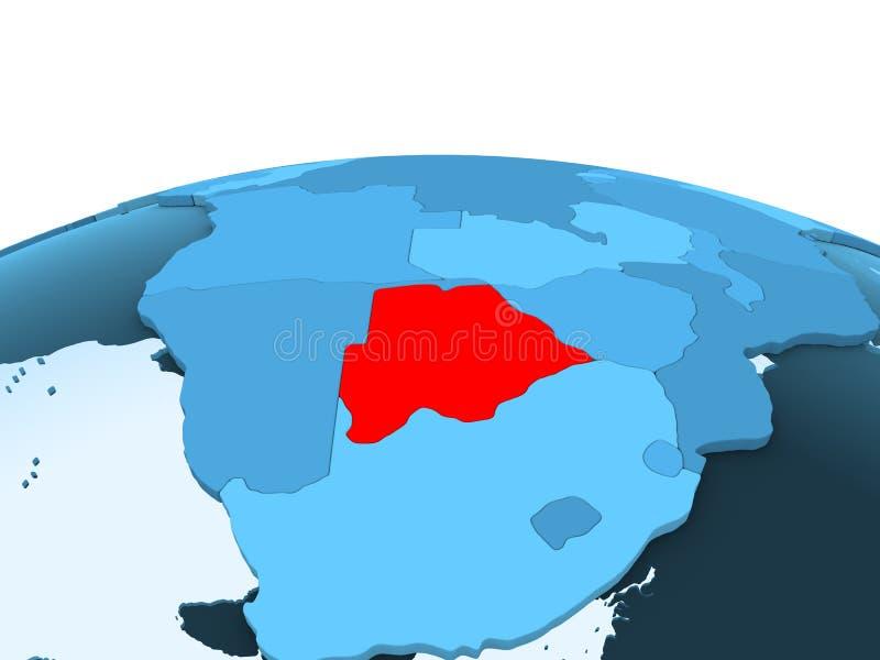 Botswana na błękitnej politycznej kuli ziemskiej ilustracji