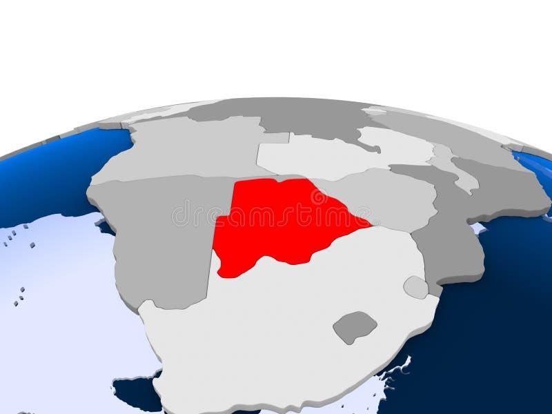 Botswana na politycznej kuli ziemskiej ilustracja wektor
