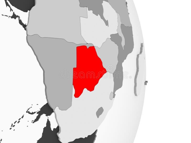 Botswana na popielatej politycznej kuli ziemskiej ilustracja wektor