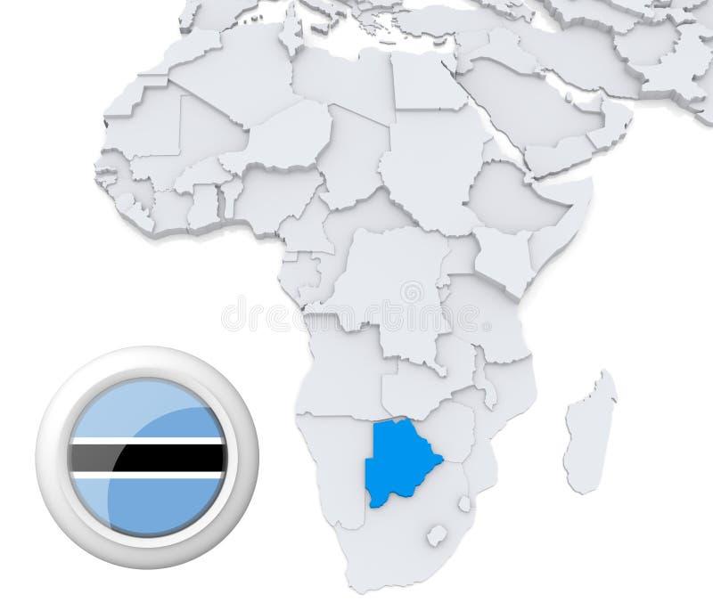 Botswana på den Afrika översikten royaltyfri illustrationer