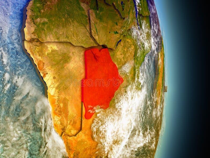 Botswana in rood van ruimte stock illustratie