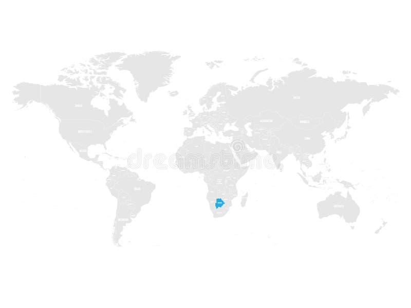 Botswana zaznaczał błękitem w popielatej Światowej politycznej mapie również zwrócić corel ilustracji wektora royalty ilustracja