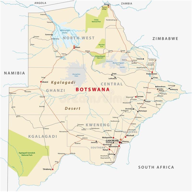Botswansk administrativ och politisk översikt för väg, vektor illustrationer